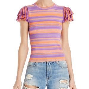 EUC Alice + Olivia Kenia Ruffle Sleeve Striped Top